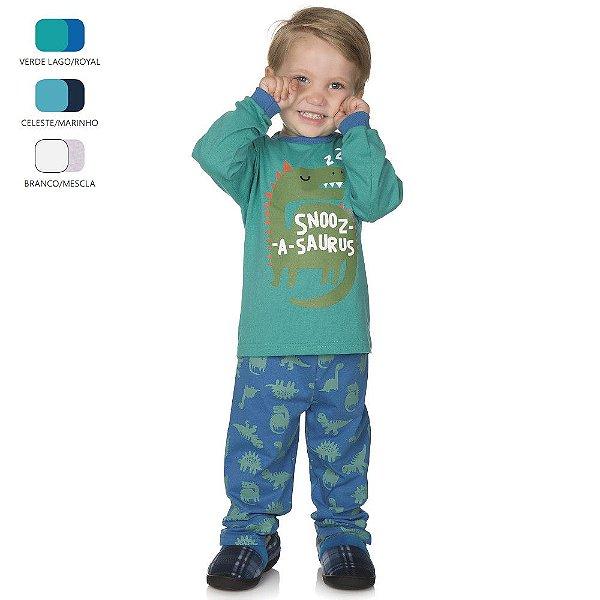 Pijama Infantil de Menino Longo de Inverno Dinossauro