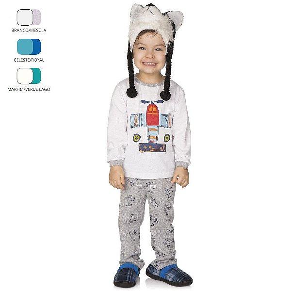 Pijama Infantil de Menino Longo de Inverno Avião