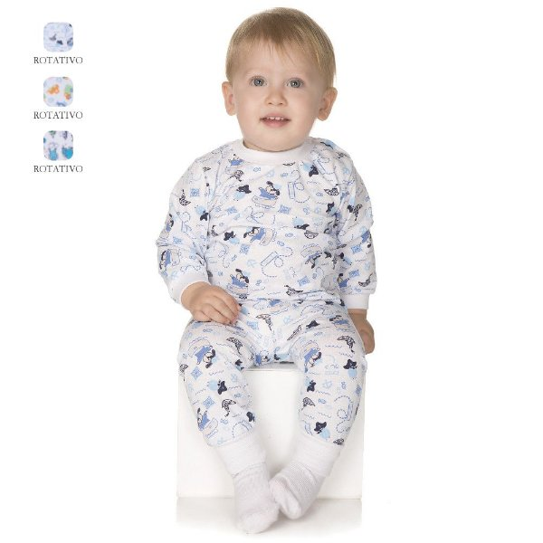 Pijama de Bebê Menino Longo de Inverno Estampado