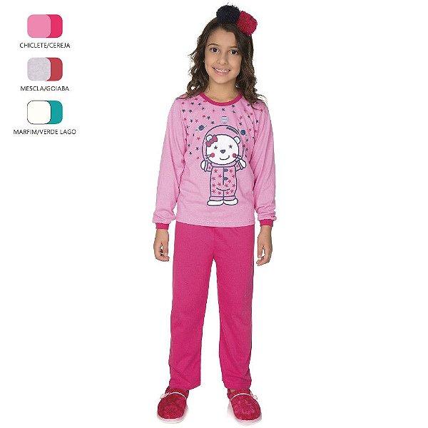 Pijama Longo de Inverno Infantil de Menina Urso Espaço