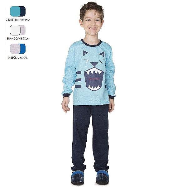 Pijama Longo de Inverno Infantil de Menino Tigre