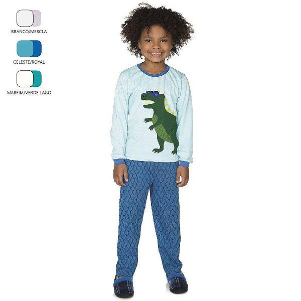 Pijama Longo de Inverno Infantil de Menino Dinossauro