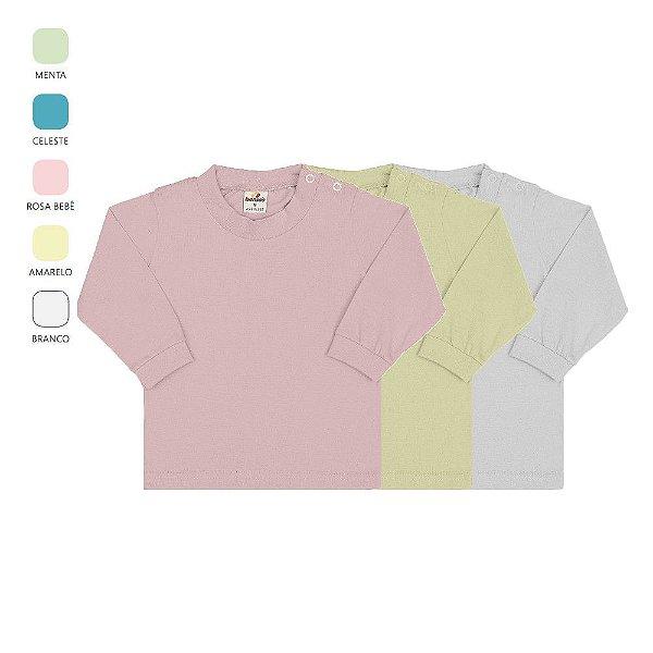 Roupa Bebê Menino Menina Kit 3 Camisetas Manga Longa Botão