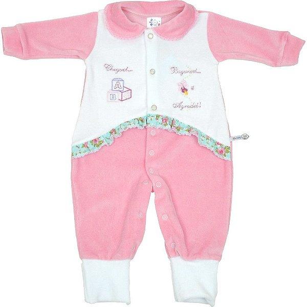Macacão Longo para Bebê Menina de Plush com Gola e Recorte - Bebê e ... 32eb672ada1