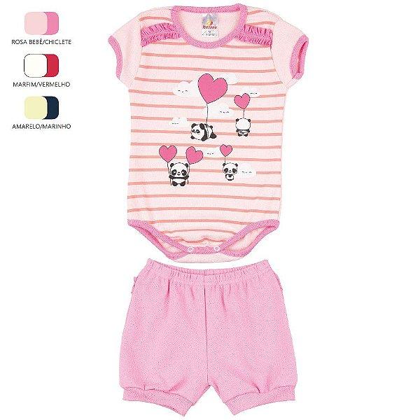Conjunto Body e Short de Ribana para Bebê Menina (Verão)