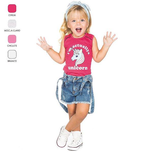 Regata com Estampa de Unicórnio Infantil para Menina (Verão)