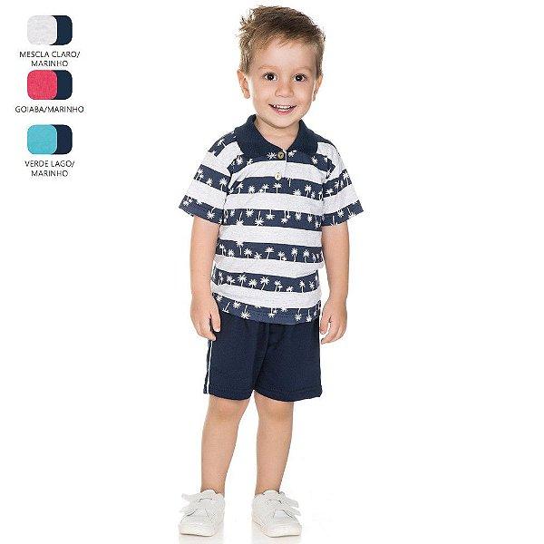 Conjunto Infantil para Menino Camiseta Gola Polo (Verão)