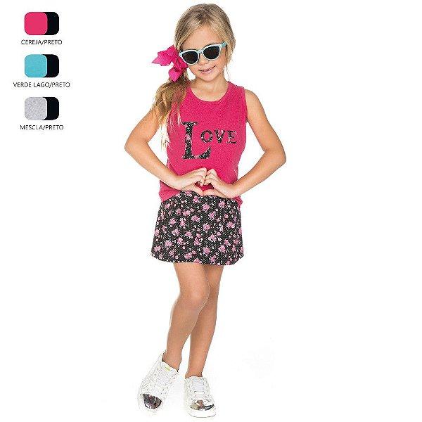 Conjunto Infantil para Menina Regata e Short Saia (Verão)