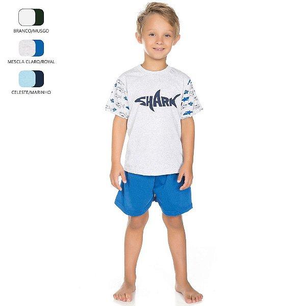 Pijama Infantil Camiseta Meia Manga para Menino (Verão)
