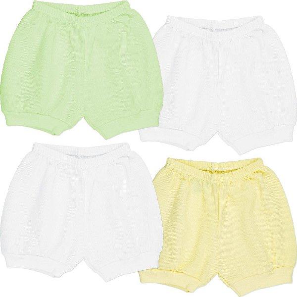 Roupa Bebê Menino Menina Unissex Shorts com Punho Kit 4 Pcs