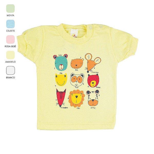 Camiseta para Bebê Unissex Estampa e Botão no Ombro  (Verão)