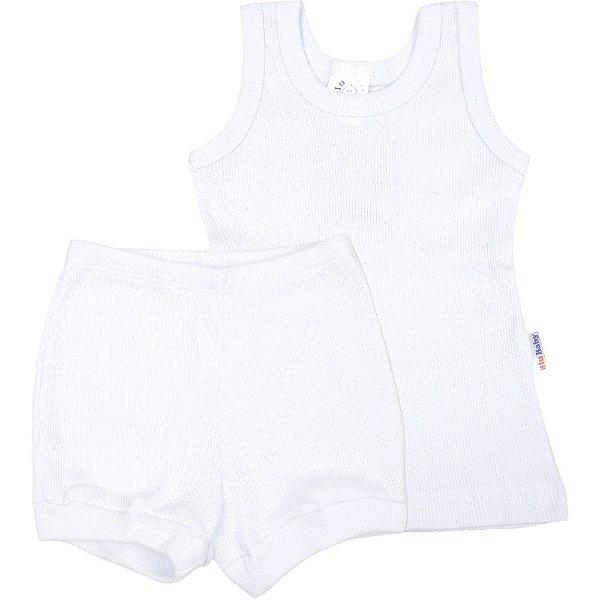 Roupa Bebê Conjunto Regata e Shorts Ribana Canelada Liso