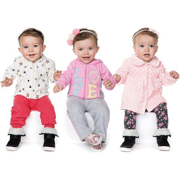 Roupas de Bebê Menina Kit 3 Conjuntos Longo Inverno Love