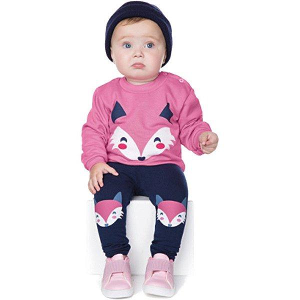 Conjunto Bebê Menina Calça Molecotton e Casaco Moletom