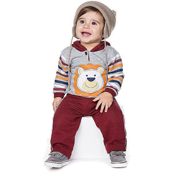 Conjunto Bebê Menino Inverno Calça e Casaco de Botão e Capuz