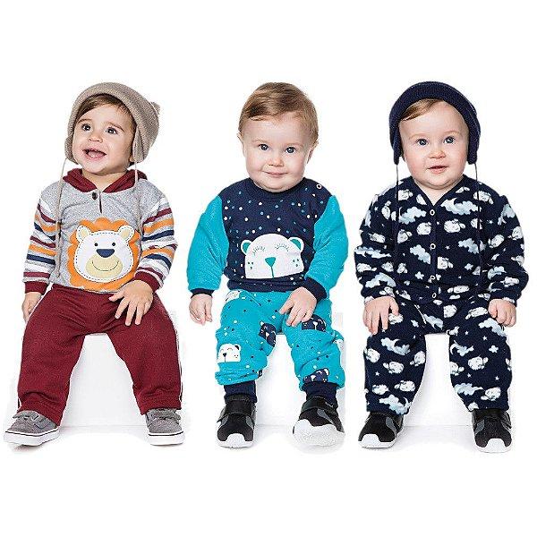 Roupas de Bebê Menino Kit 3 Conjuntos Inverno Calça e Casaco