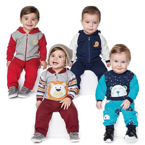 Roupas de Bebê Menino Kit 4 Conjuntos Calça e Casaco Inverno