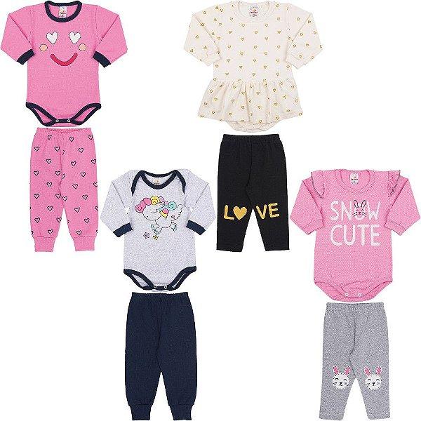 Roupas de Bebê Menina Kit 4 Conjuntos Body e Calça Inverno