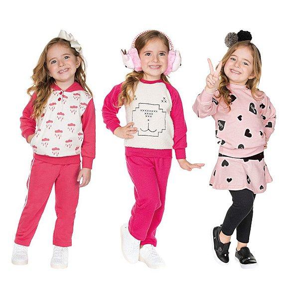 Roupa Infantil Menina Kit 3 Conjuntos Calça e Casaco Inverno