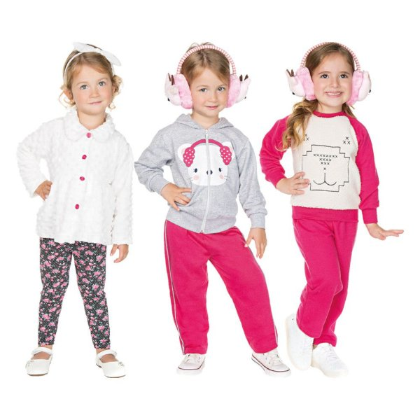 Roupa Infantil Menina Kit 3 Conjuntos Longos Calça e Casaco