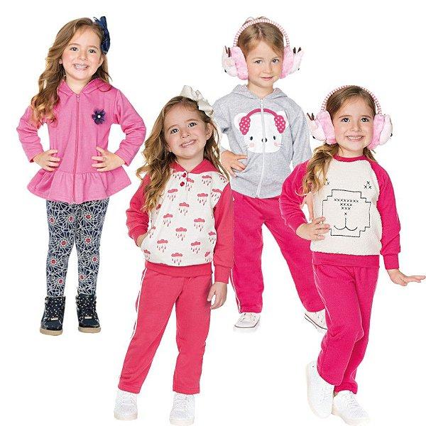 Roupa Infantil Menina Kit 4 Conjuntos Calça e Casaco Inverno