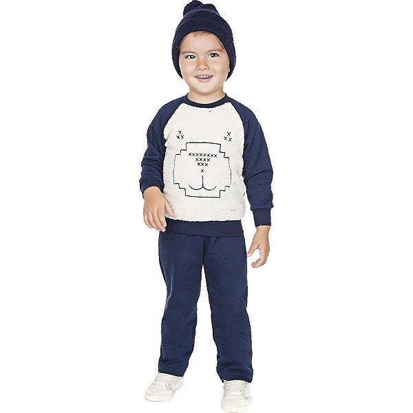 Roupa Infantil Menino Conjunto Calça com Casaco Pelo Sherpa