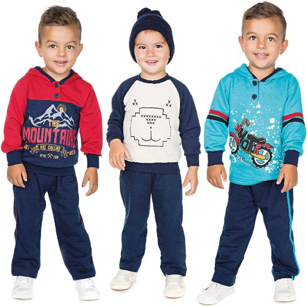 Roupa Infantil Menino Kit 3 Conjuntos Calça e Casaco Inverno