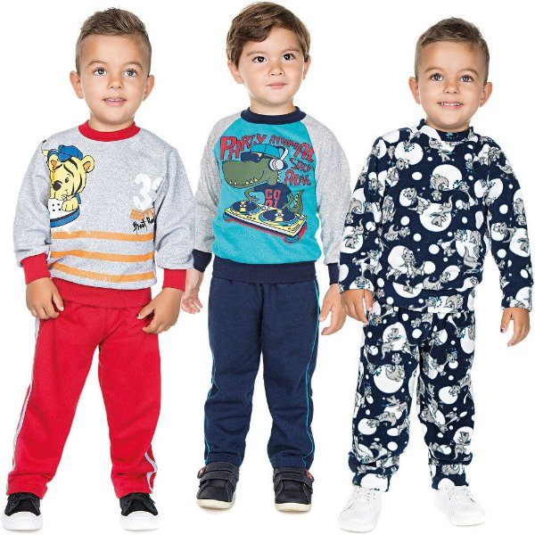 Roupa Infantil Menino Kit 3 Conjuntos de Inverno Isensee