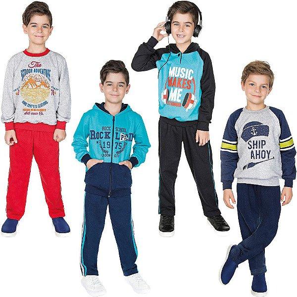 Roupa Infantil Menino Kit 4 Conjuntos de Moletom Inverno