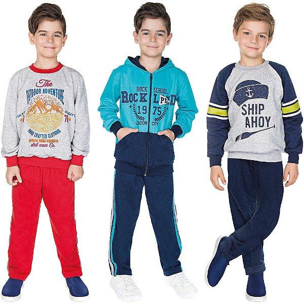 Roupa Infantil Menino Kit 3 Conjuntos de Moletom Inverno