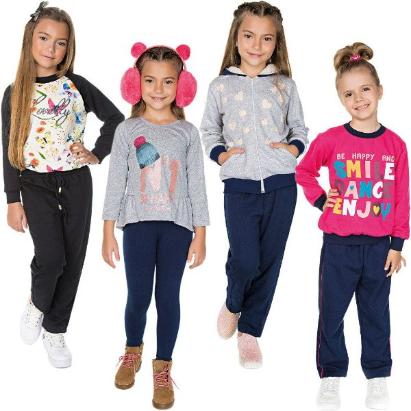 Roupa Infantil Menina Kit 4 Conjuntos Longo de Inverno