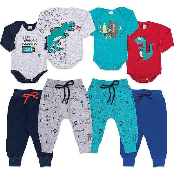 d85f72913 Kit Roupinha de Inverno para Bebê com 4 Bodies e 4 Calças - Bebê e ...