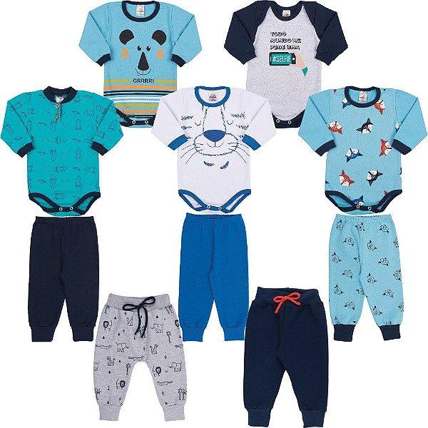 Roupa Bebê Menino Kit 3 Conjuntos 2 Bodies e 2 Calças 10pcs