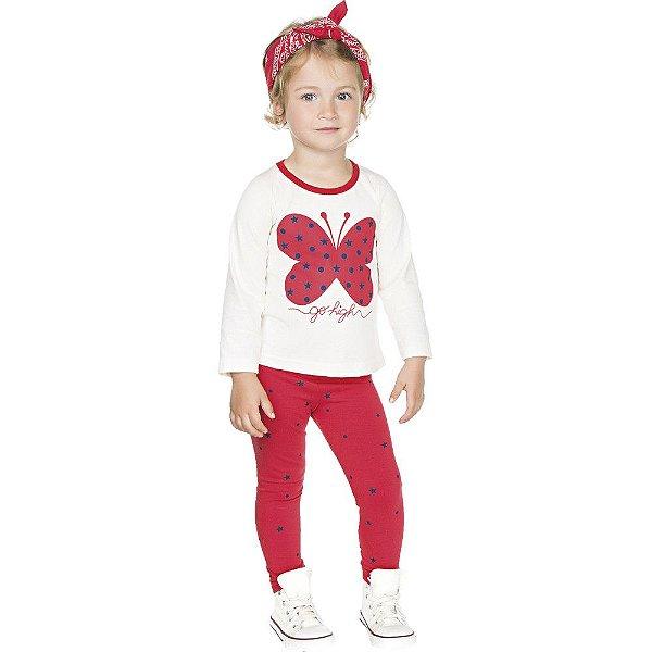 Roupa Infantil Menina Conjunto Calça Cotton Blusa Meia Malha