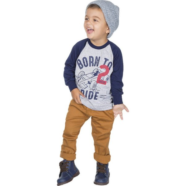 Roupa Infantil Menino Camiseta Manga Longa Raglan Inverno