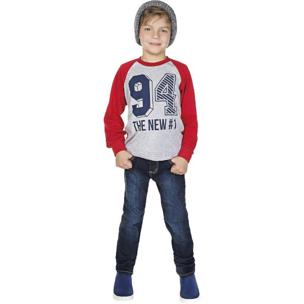 Roupa Infantil Menino Camiseta Manga Longa Raglan Meia Malha