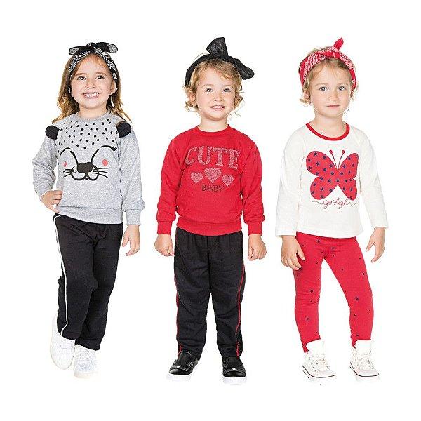 Roupa Infantil Menina Kit 3 Conjuntos Longo Inverno Cute
