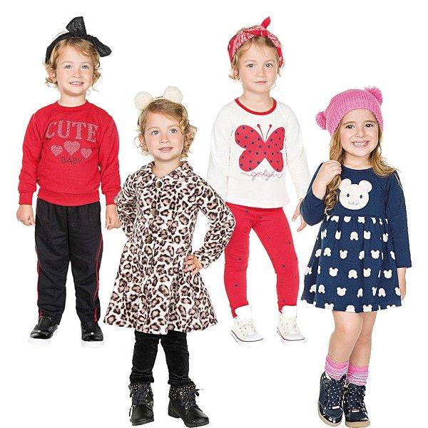 d62d74fec1 Kit 2 Conjuntos 1 Sobretudo e 1 Vestido Infantil Tamanhos 1 2 3 ...
