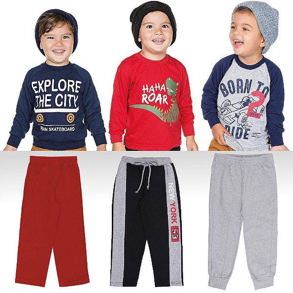 459b6dba89 Kit Roupinhas de Inverno Menino Camisetas Blusão e Calças - Bebê e ...