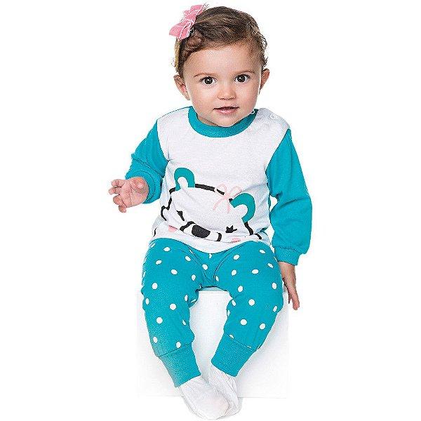 Pijama Bebê Menina Meia Malha Longo Botões no Ombro