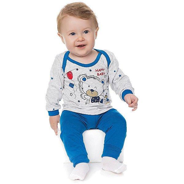 Pijama Bebê Menino Meia Malha Longo Gola Americana