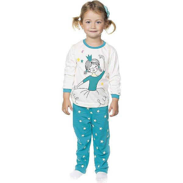 Pijama Infantil Menina Meia Malha Longo de Inverno Bailarina