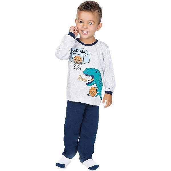 Pijama Infantil Menino Meia Malha Longo Inverno Basketball