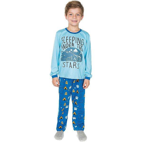 Pijama Infantil Menino Inverno Estampa que Brilha no Escuro