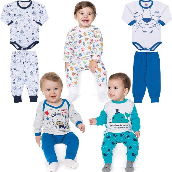 Roupa Bebê Menino Kit 2 Conjuntos Body e Calça e 3 Pijamas