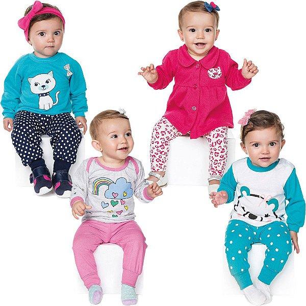 Roupa Bebê Menina Kit 2 Conjuntos e 2 Pijamas Longo Inverno