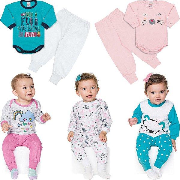 Roupa Bebê Menina Kit 3 Pijamas 2 Bodies e 2 Calças Inverno