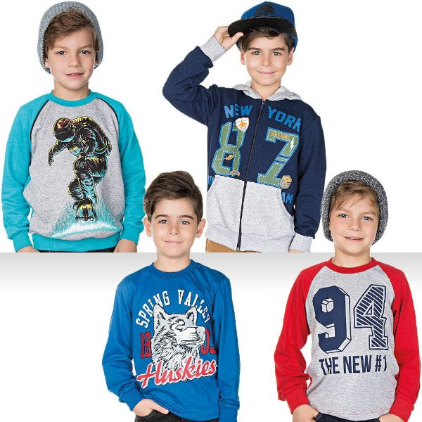 Roupa Infantil Menino Kit Camisetas Blusão Jaqueta Inverno