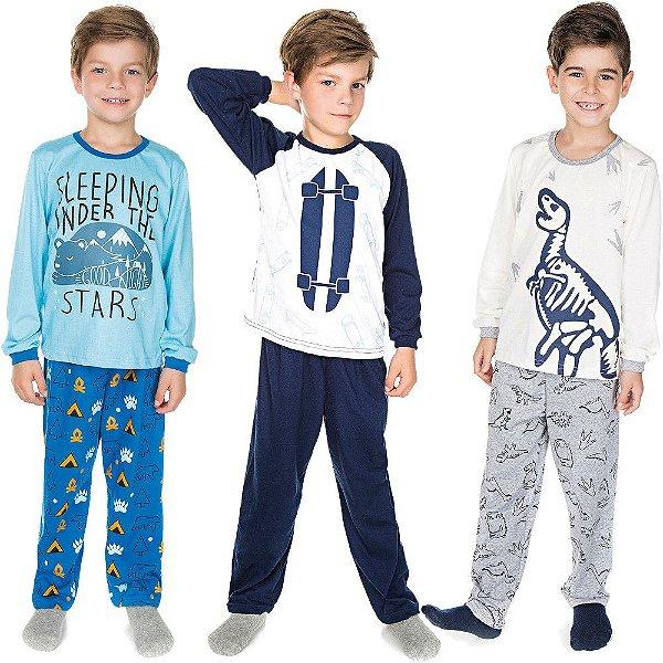 Pijama Infantil Menino Kit 3 Pijamas Longos de Malha Inverno