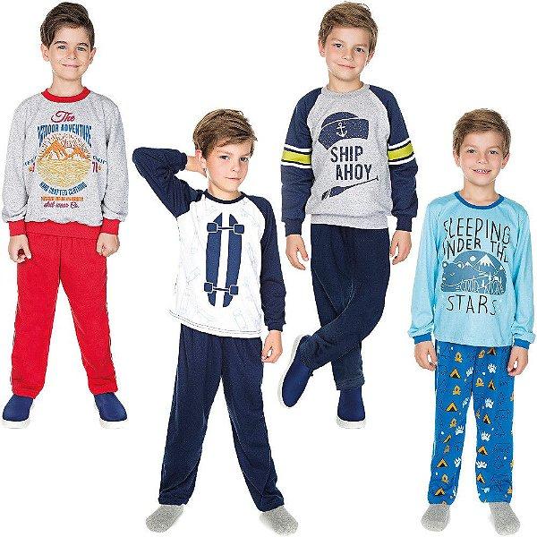 Roupa Infantil Menino Kit 2 Conjuntos Moletom e 2 Pijamas